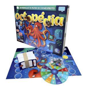 Embalagem e conteúdo do jogo de tabuleiro octopédia