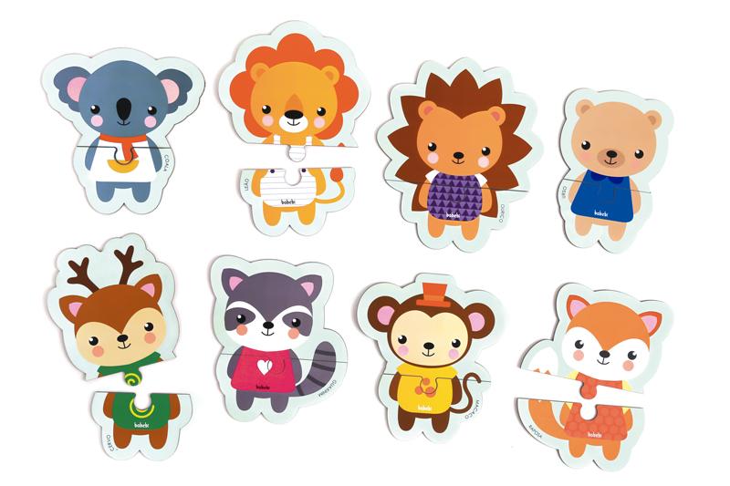 Peças do Brinquedo Educativo Quebra-cabeça 2 Partes Animais da Floresta