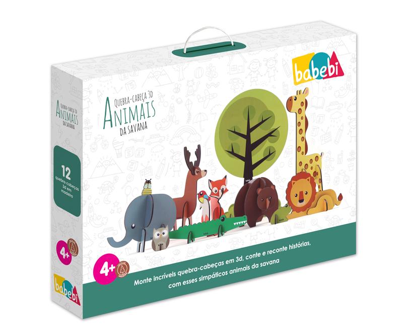 Caixa do Brinquedo Educativo Quebra-cabeça 3D Animais da Savana