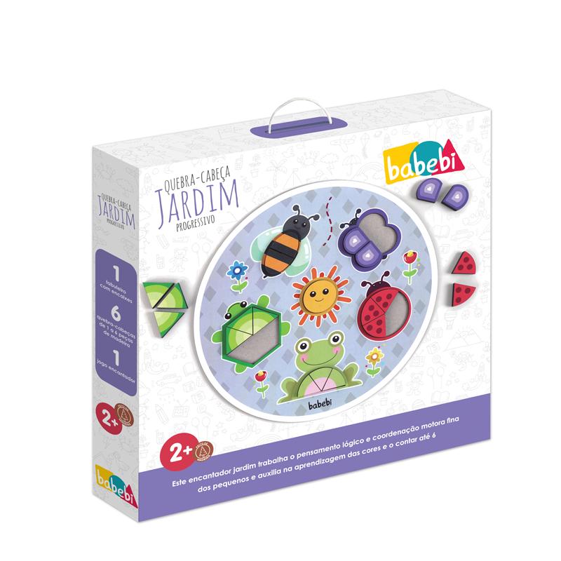 Caixa do Brinquedo Educativo Quebra-cabeça Jardim Progressivo