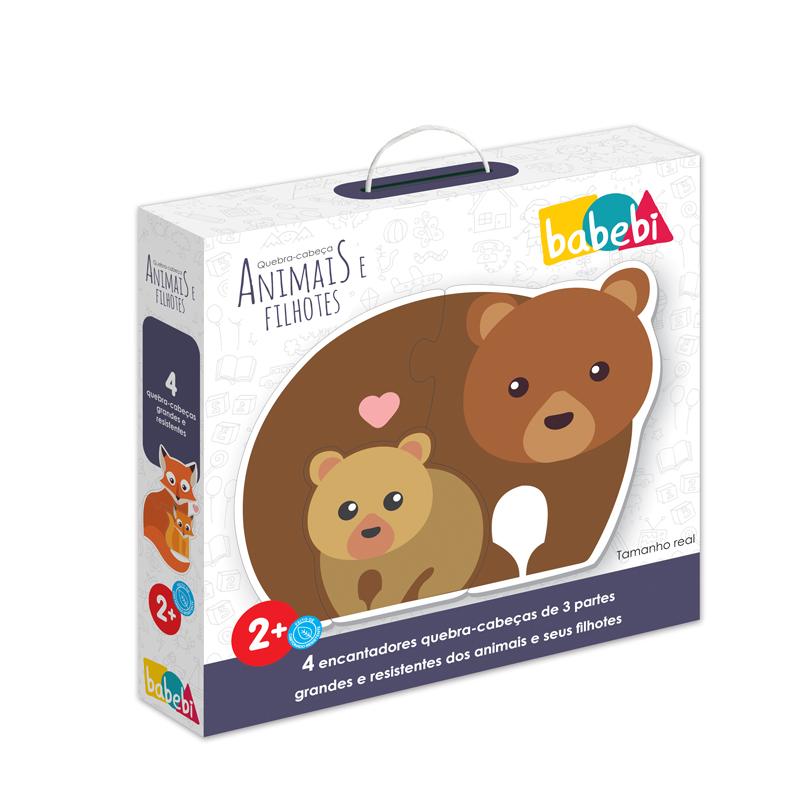 Caixa do Brinquedo Educativo Quebra-cabeça Animais e Filhotes