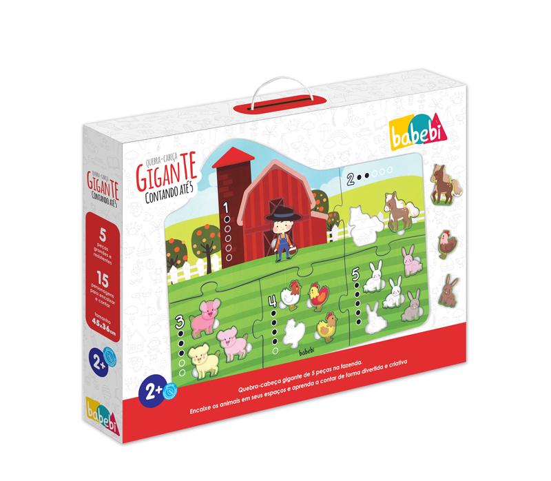 Caixa do Brinquedo Educativo Quebra-cabeça Gigante Contando até 5