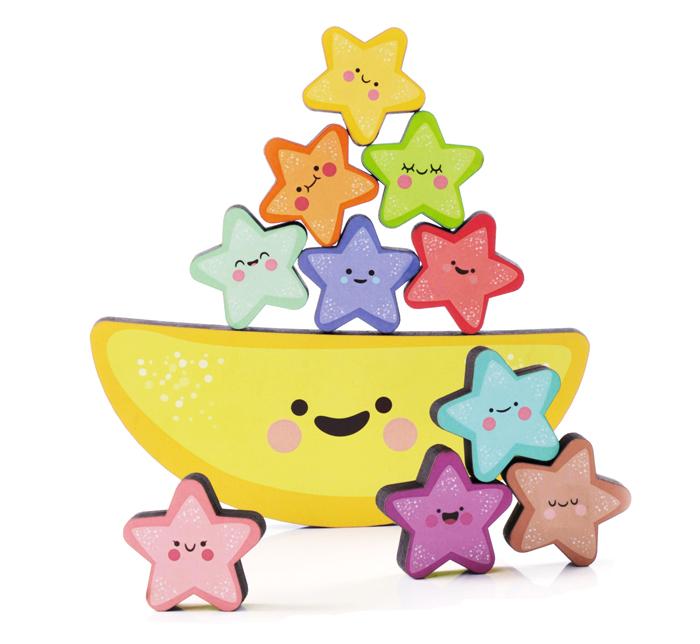 Peças do Brinquedo Educativo Equilibrando Estrelinhas.