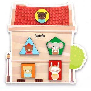 Cazinha do Brinquedo Educativo Quebra-cabeça de Encaixe Cores e Formas montada
