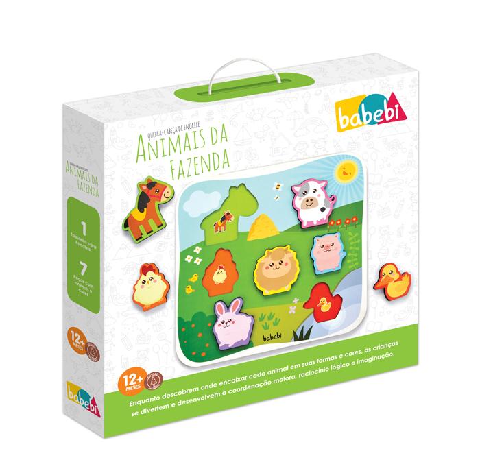 Caixa do Peças montadas Brinquedo Educativo Quebra-cabeça Encaixe Animais da Fazenda
