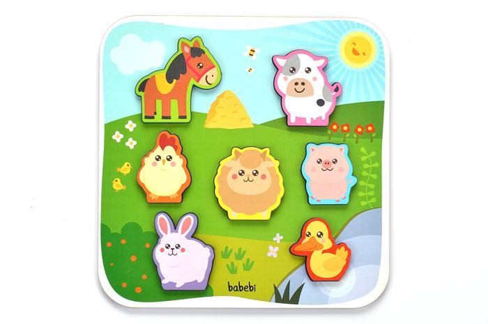 Peças montadas Brinquedo Educativo Quebra-cabeça Encaixe Animais da Fazenda