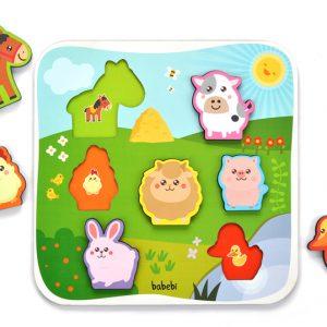 Peças desmontadas Brinquedo Educativo Quebra-cabeça Encaixe Animais da Fazenda