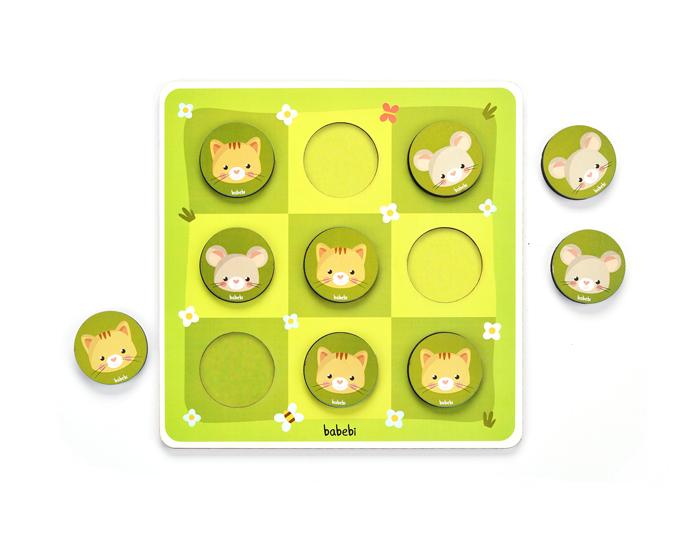 Brinquedo Educativo Jogo da velha Entre Gato e Rato com peças desmontadas