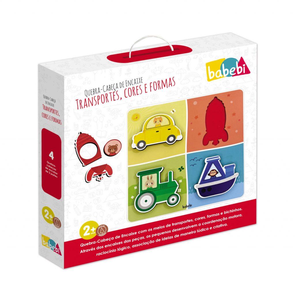 Embalagem do Quebra-cabeça de Encaixe Transportes, Cores e Formas
