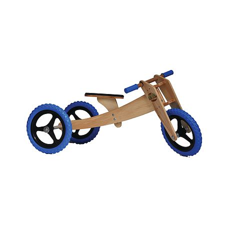 Bike de equilíbrio em madeira com três rodas azul