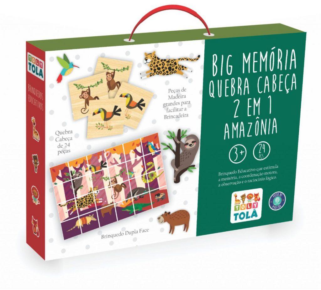 embalagem da Peças da Big Memória e Quebra Cabeça 2 em 1 Amazônia