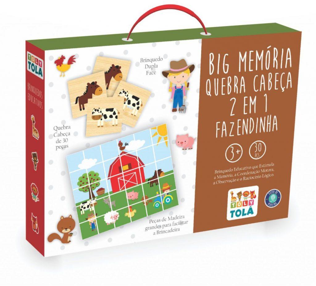 embalagem da Peças da Big Memória e Quebra Cabeça 2 em 1 Fazendinha