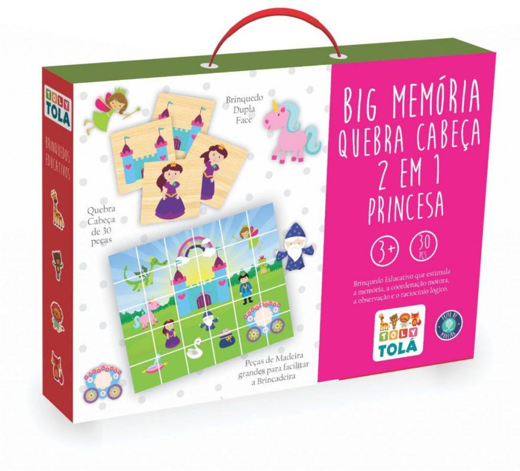 embalagem da Peças da Big Memória e Quebra Cabeça 2 em 1 princesa