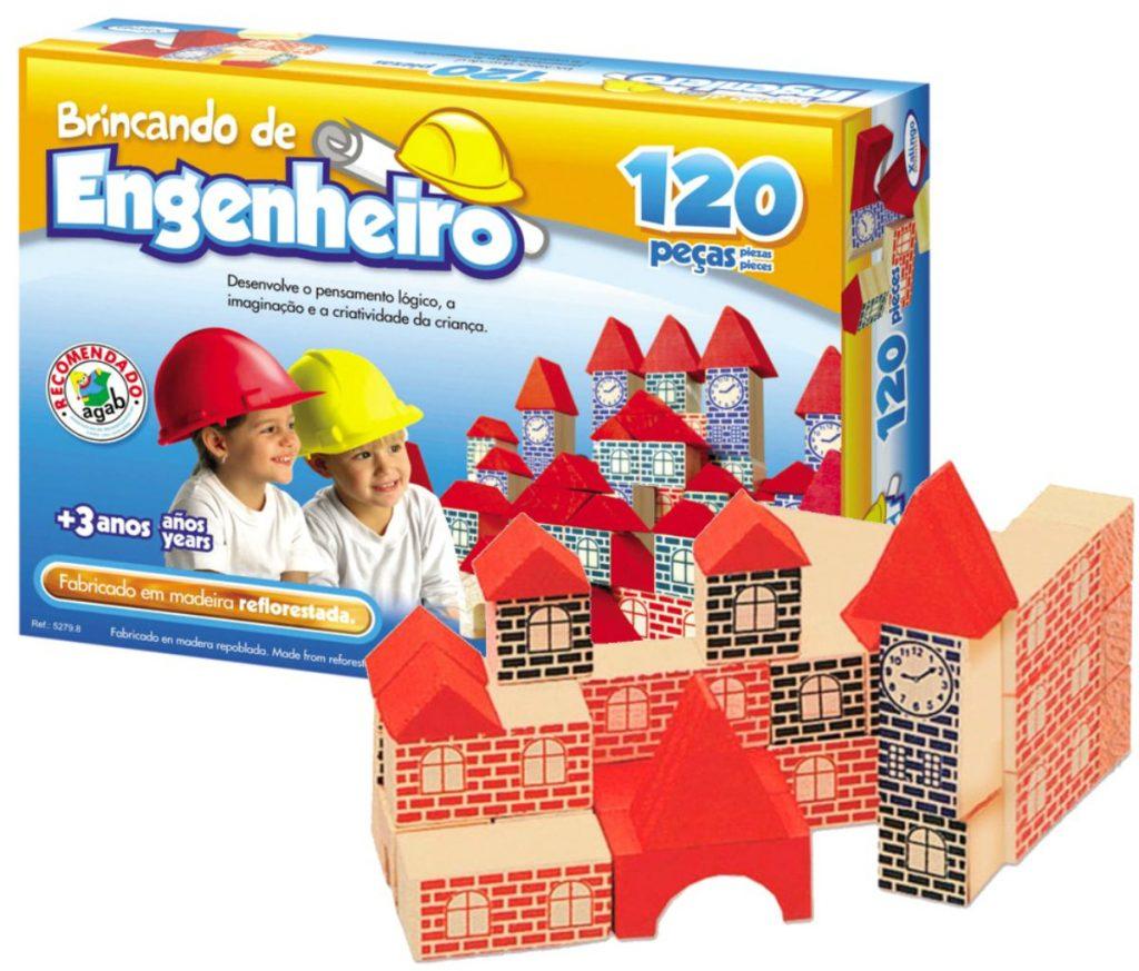 Brincando de engenheiro 120 peças em madeira