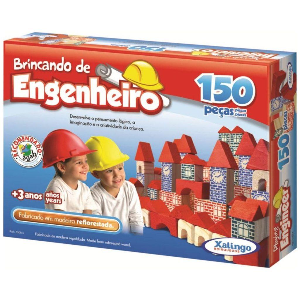 Brincando de engenheiro 150 peças em madeira