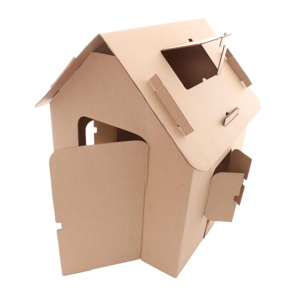 Perspectiva da casa de papelão