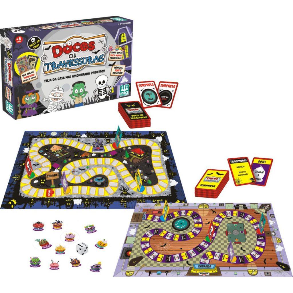 embalagem, tabuleiro e peças do jogo doces ou travessuras