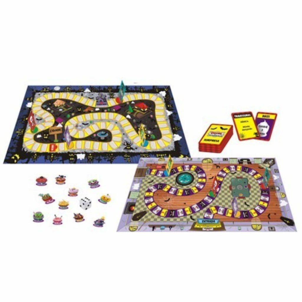 tabuleiro e peças do jogo doces ou travessuras