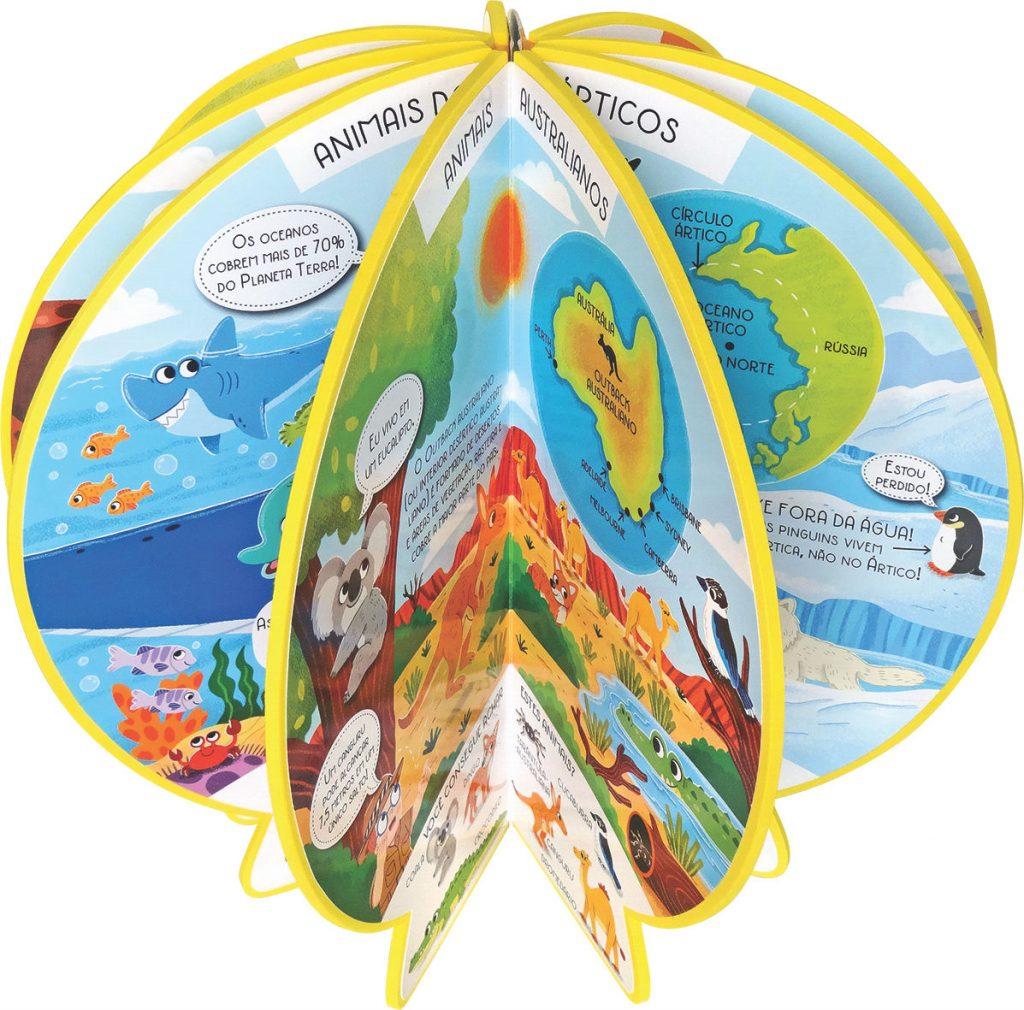 Livro Globo Onde no Mundo estão os Animais Aberto como globo