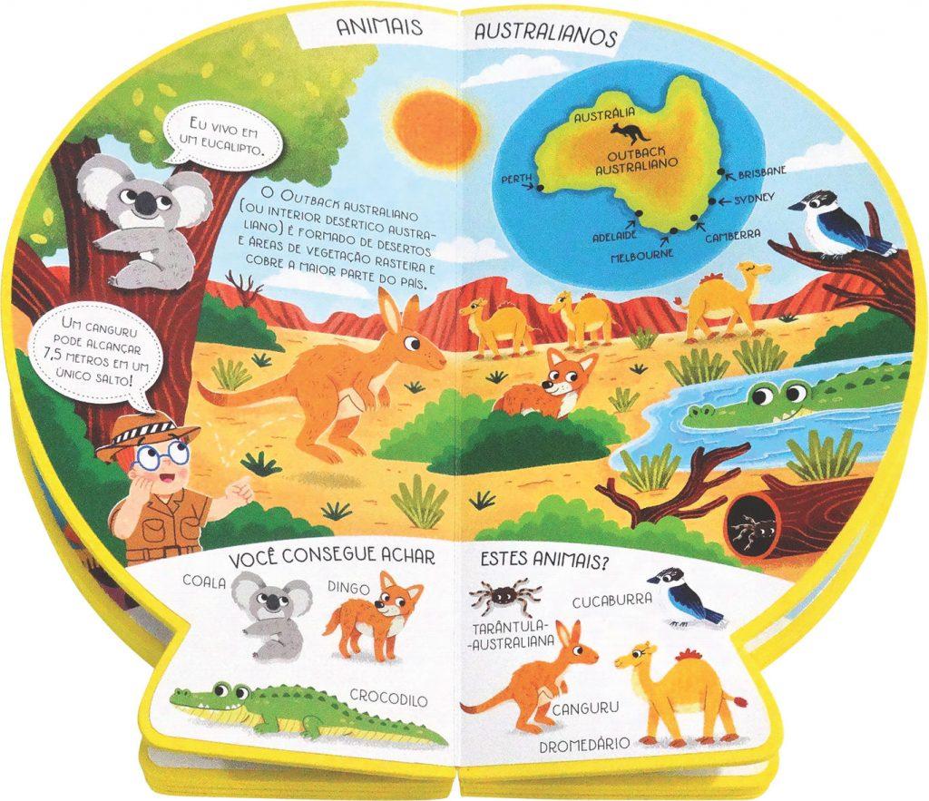 Livro Globo Onde no Mundo estão os Animais Aberto como página