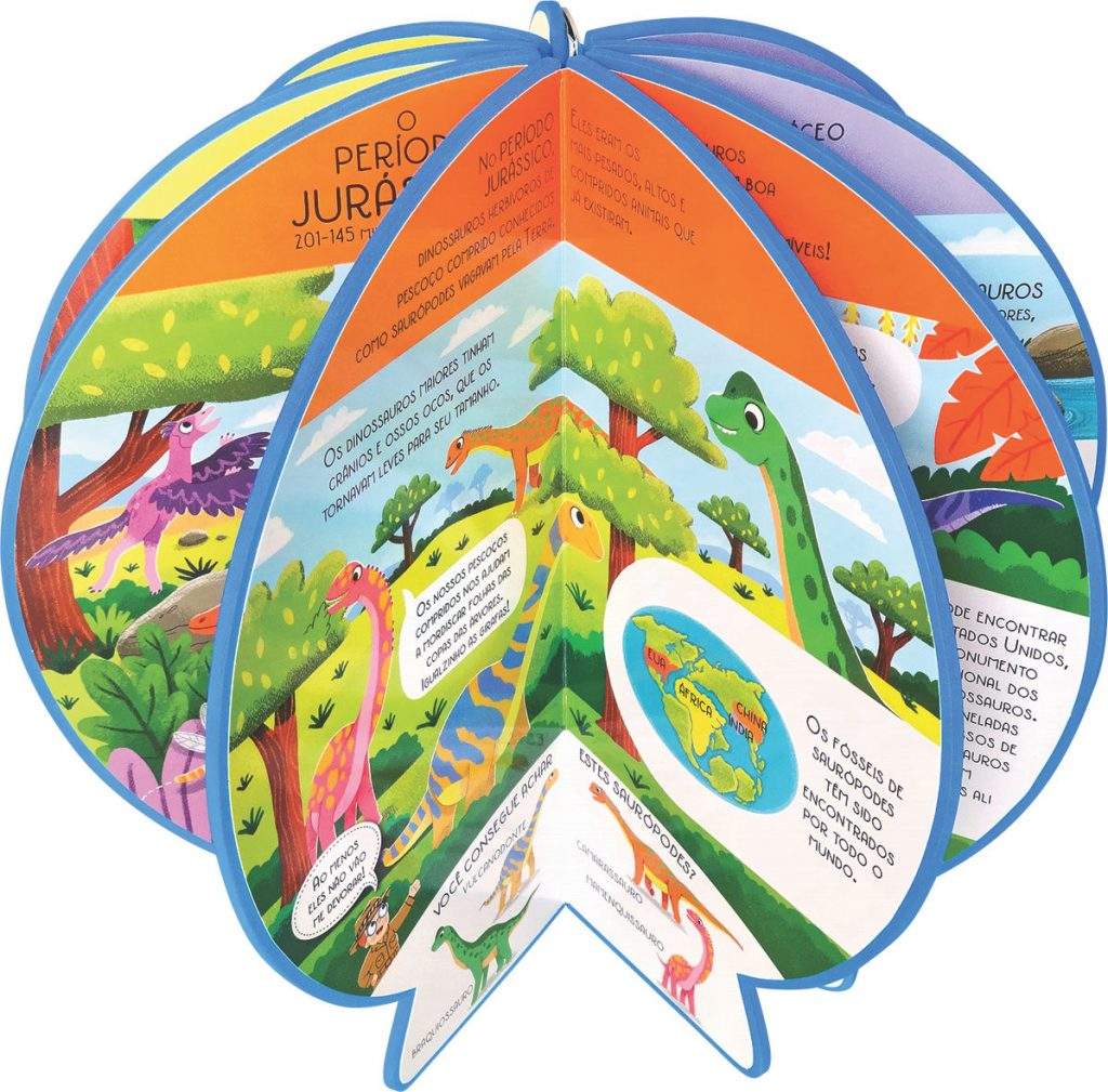 Livro Globo Onde no Mundo estavam os Dinossauros Aberto como globo