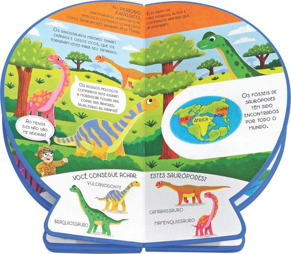 Livro Globo Onde no Mundo estavam os Dinossauros Aberto como página