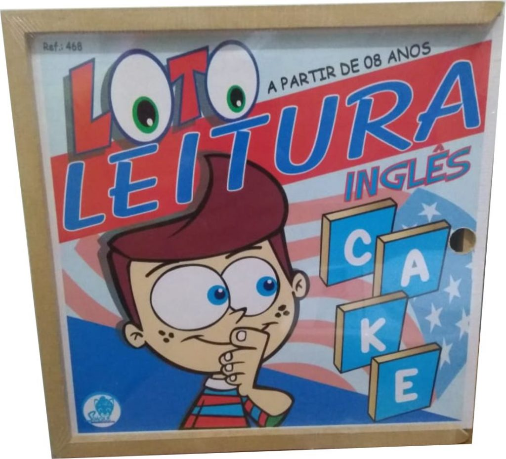 Caixa de madeira do Brinquedo educativo loto leitura inglês
