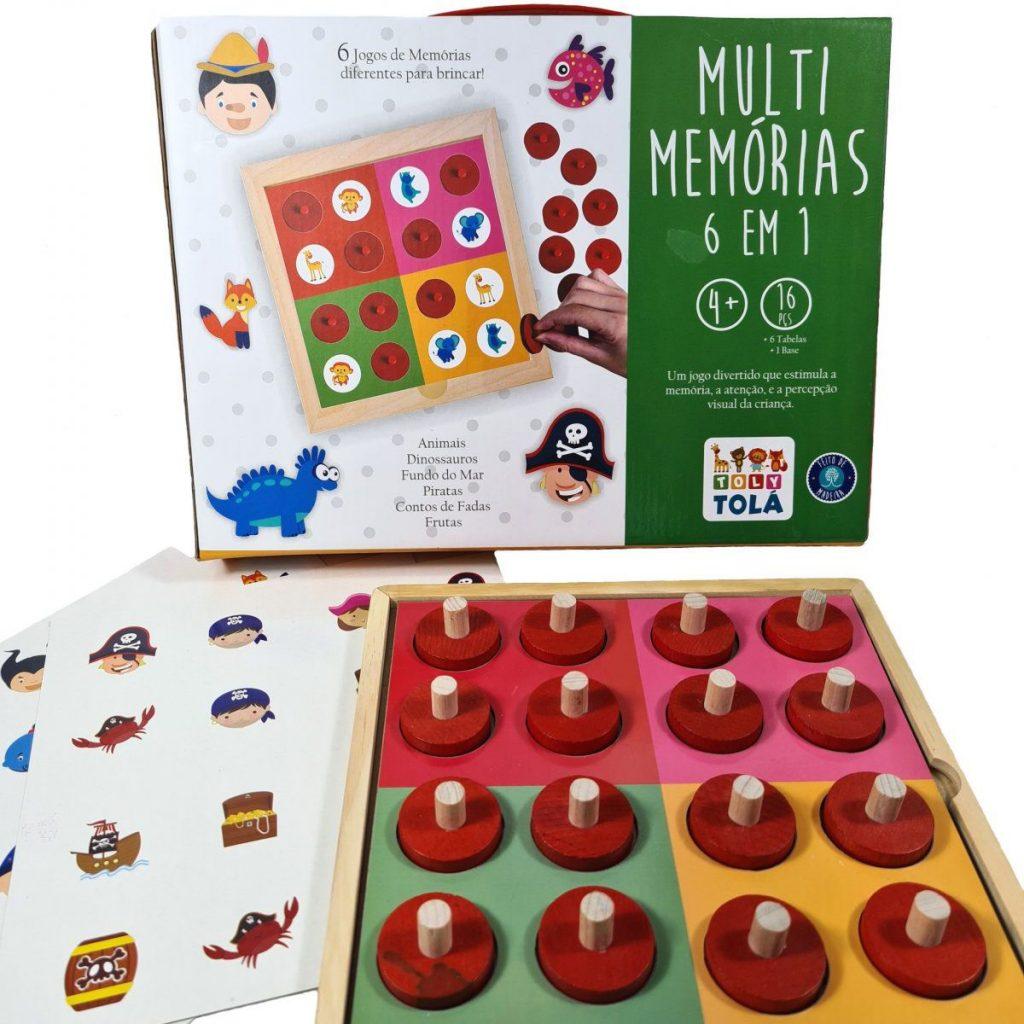 embalagem e peças do multi memória 6 em 1