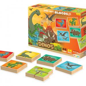 Embalagem e peças do quebra-cabeça em blocos Dinos