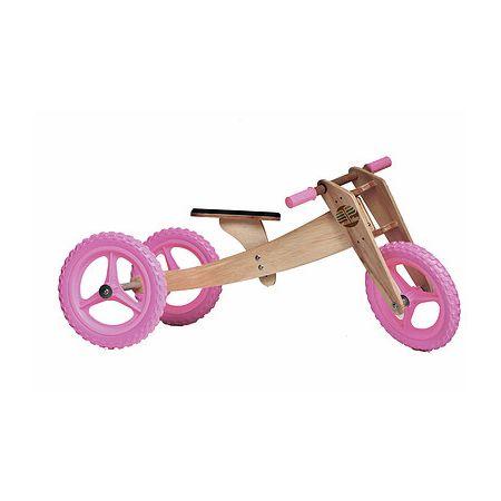 Bike de equilíbrio em madeira com três rodas rosa