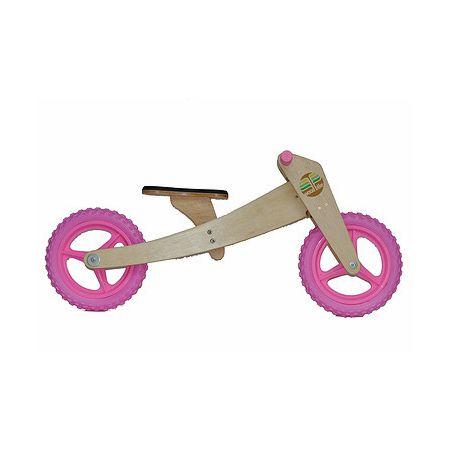 Bike de equilíbrio em madeira com duas rodas rosa