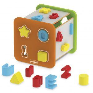 Super cubo didático em madeira com formas, letras e números em plástico