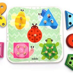 Peças do Brinquedo Educativo Torre de Encaixe Cores e Formas. Encaixando e empilhando os pequenos aprendem as primeiras noções de cores, formas, tamanhos e o contar até cinco.
