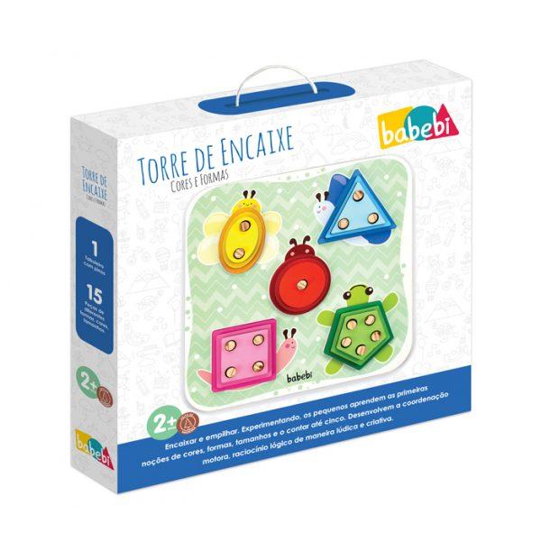 Caixa do Brinquedo Educativo Torre de Encaixe Cores e Formas. Encaixando e empilhando os pequenos aprendem as primeiras noções de cores, formas, tamanhos e o contar até cinco.