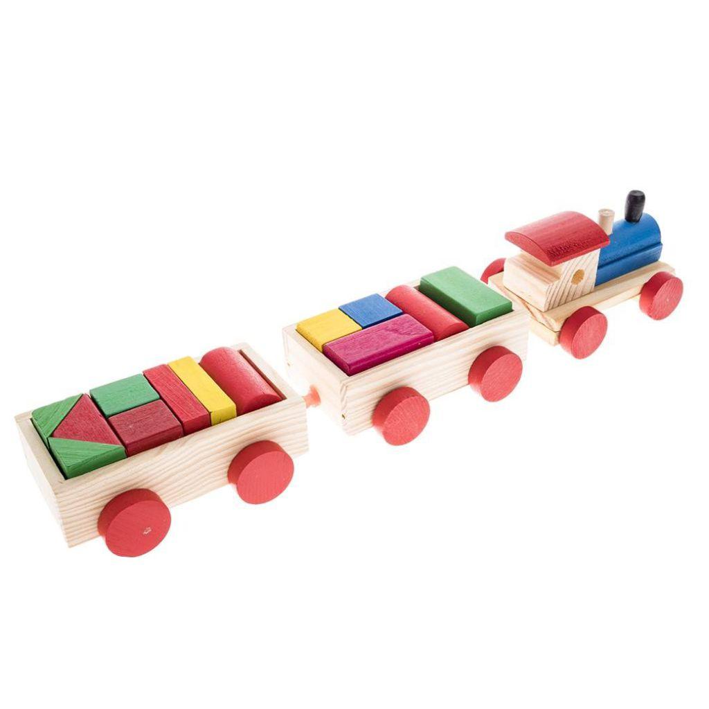 Trem Com Blocos Educativos 18 Peças Madeira