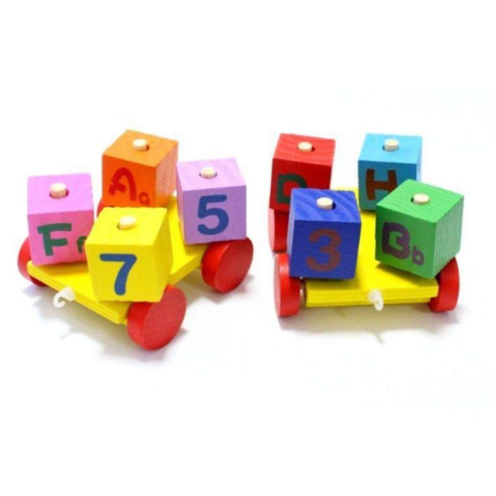 carretinhas do Trem com blocos educativos 11 peças