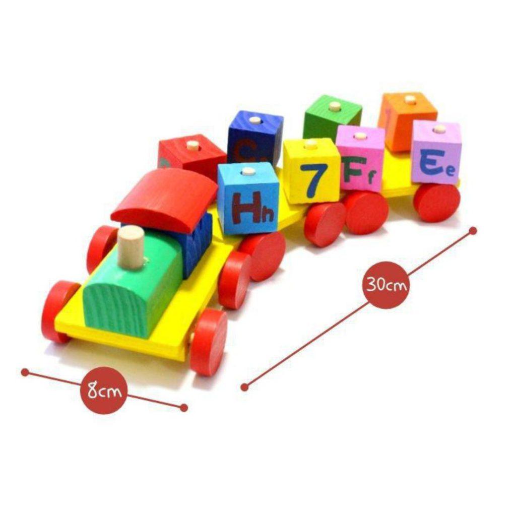 dimensões do Trem com blocos educativos 11 peças