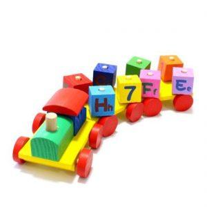 Trem com blocos educativos 11 peças