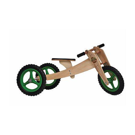 Bike de equilíbrio em madeira com três rodas verde