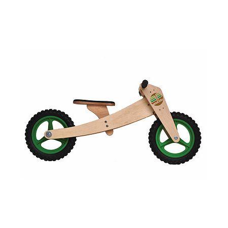 Bike de equilíbrio em madeira com duas rodas verde