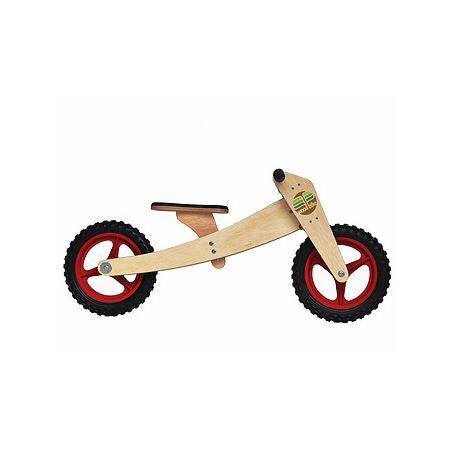 Bike de equilíbrio em madeira com duas rodas vermelha