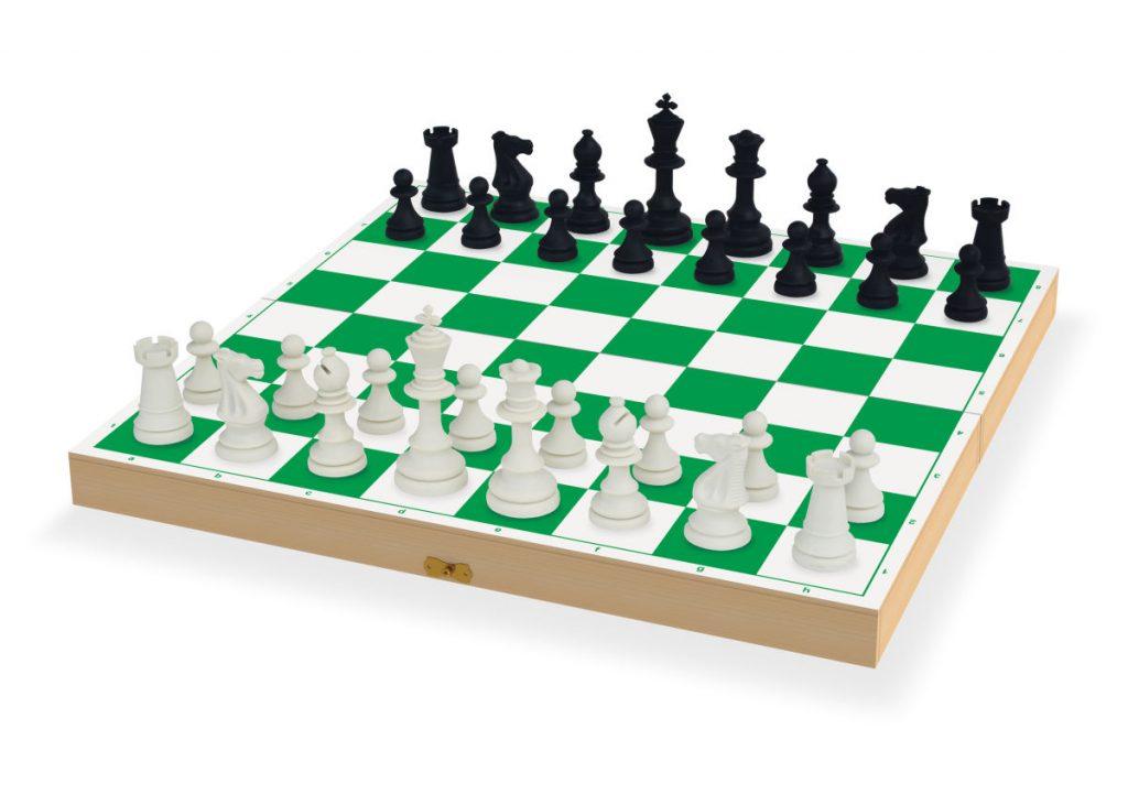 peças do jogo de xadrez oficial sobre o tabuleiro