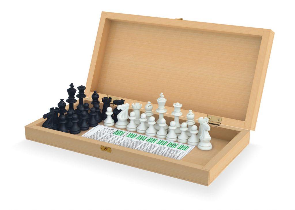 Estojo com as peças do jogo de xadrez oficial acomodadas