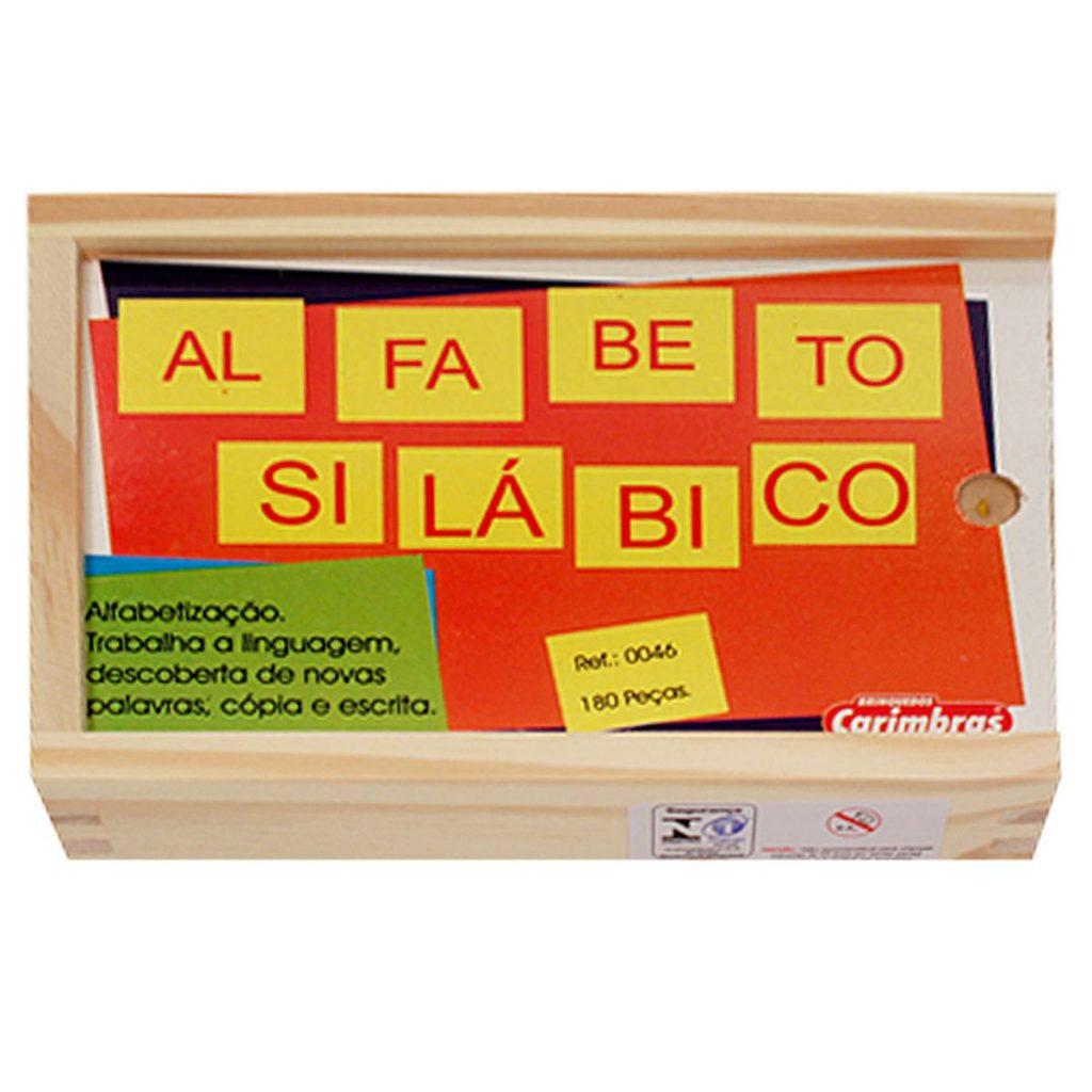 Estojo do alfabeto silábico de 180 peças de madeira