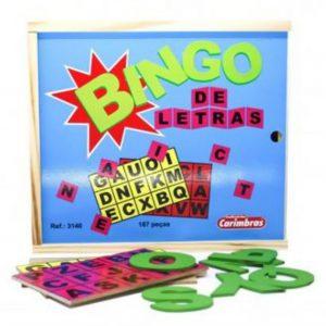 Jogo bingo de letras 187 peças de madeira