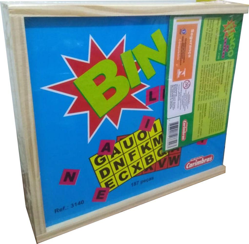 Estojo do jogo bingo de letras 187 peças de madeira