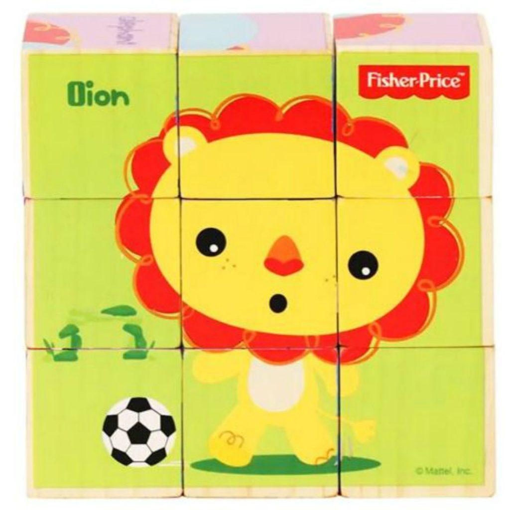 Quebra-cabeça 9 blocos de madeira bichinhos brincalhões