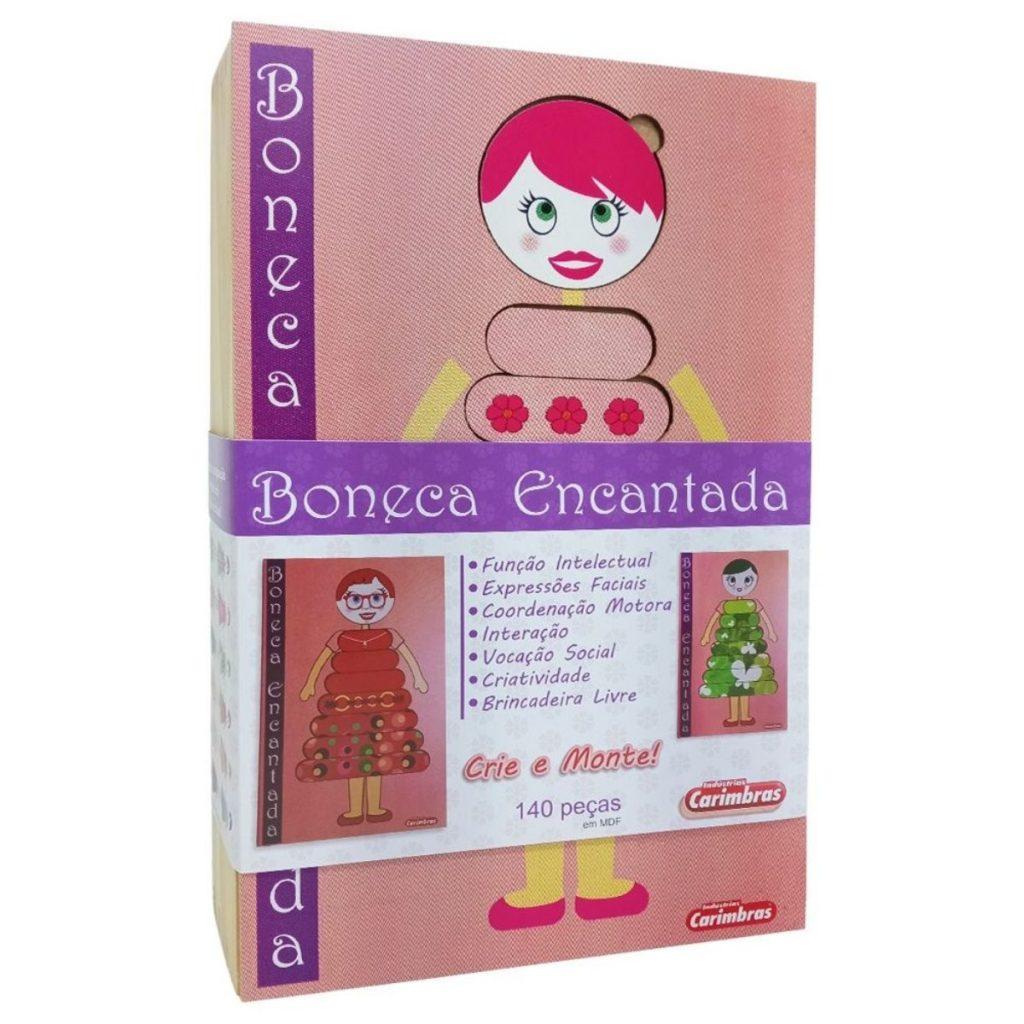 Caixa da boneca encantada em madeira