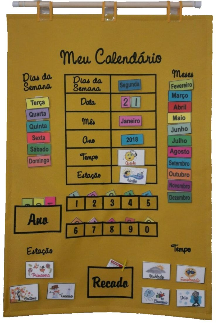 Brinquedo Educativo Meu Calendário em Português Amarelo