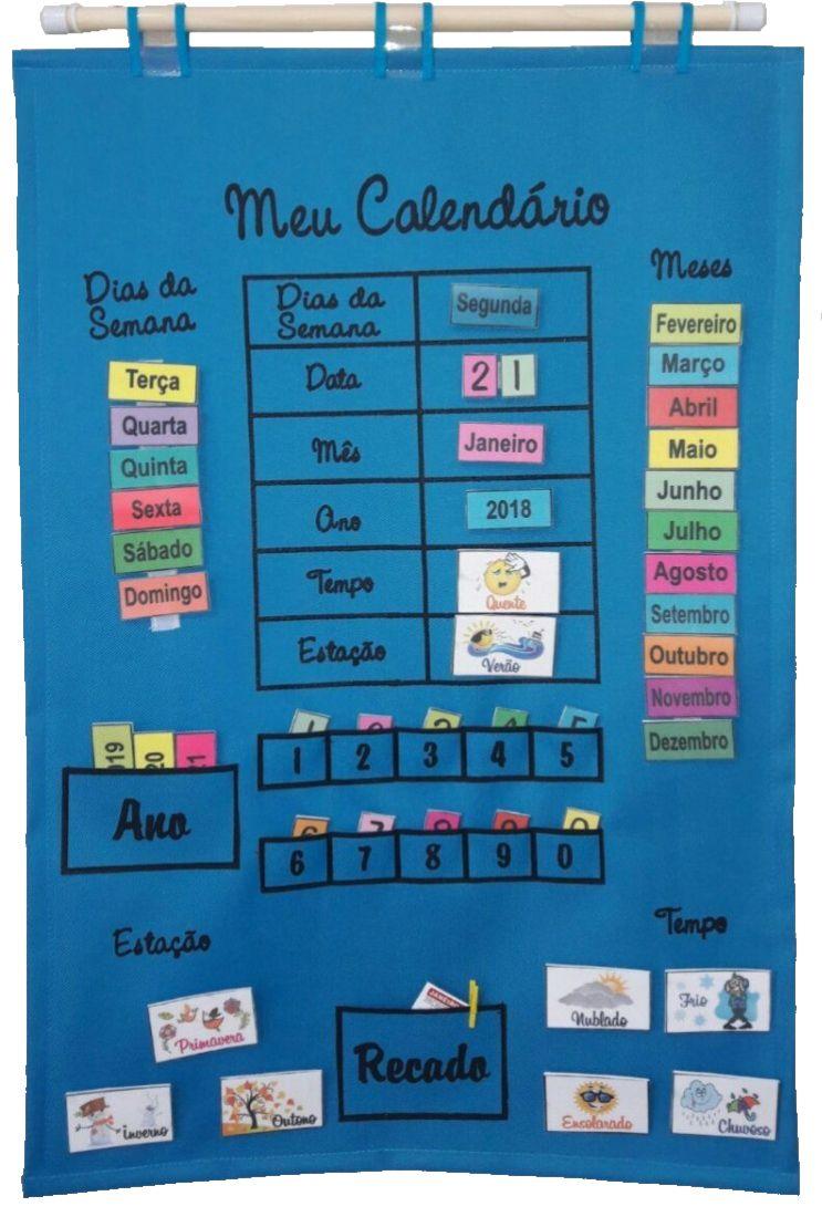 Brinquedo Educativo Meu Calendário em Português Azul